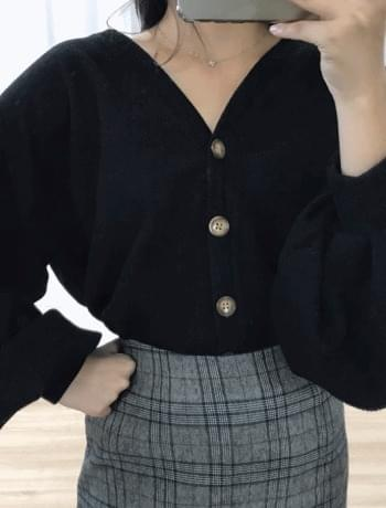 Marble puff sleeved cardigan