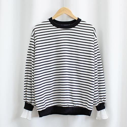 Lace-layered striped man-made tee