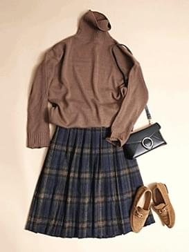 A line banded wool pleated check skirt