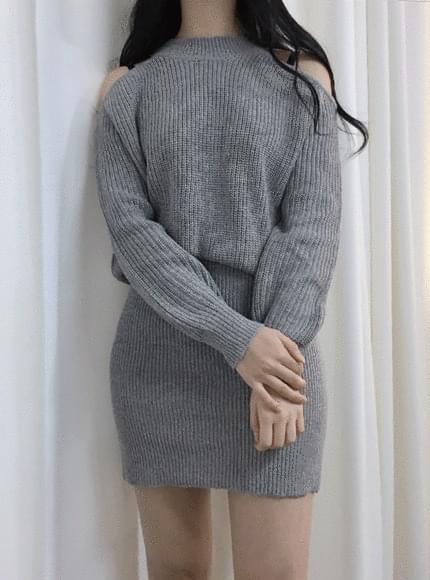 Mochi Shoulder Top Knit Dress