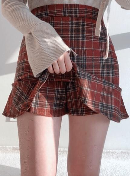 Leon check skirt pants