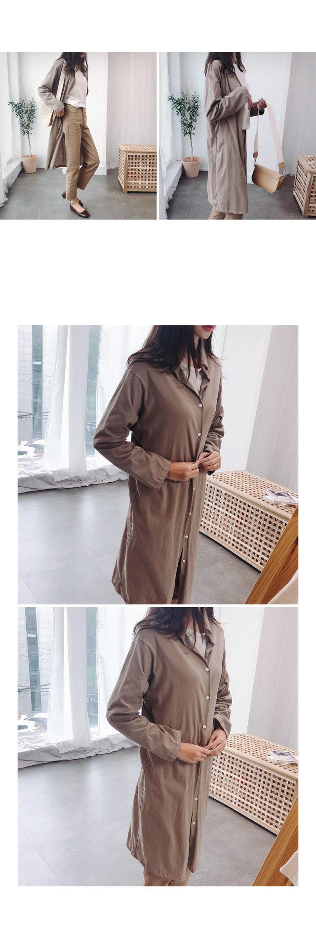 V-neck lien long shirt & dress