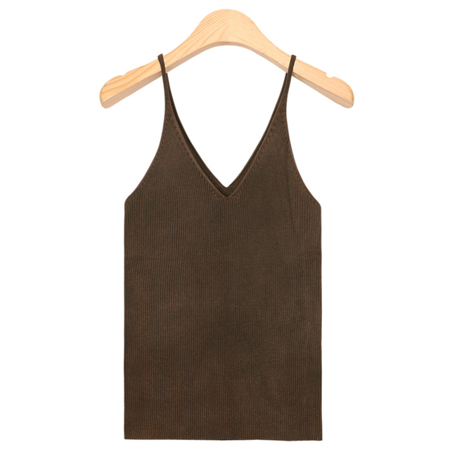 strap V-neck knit sleeveless