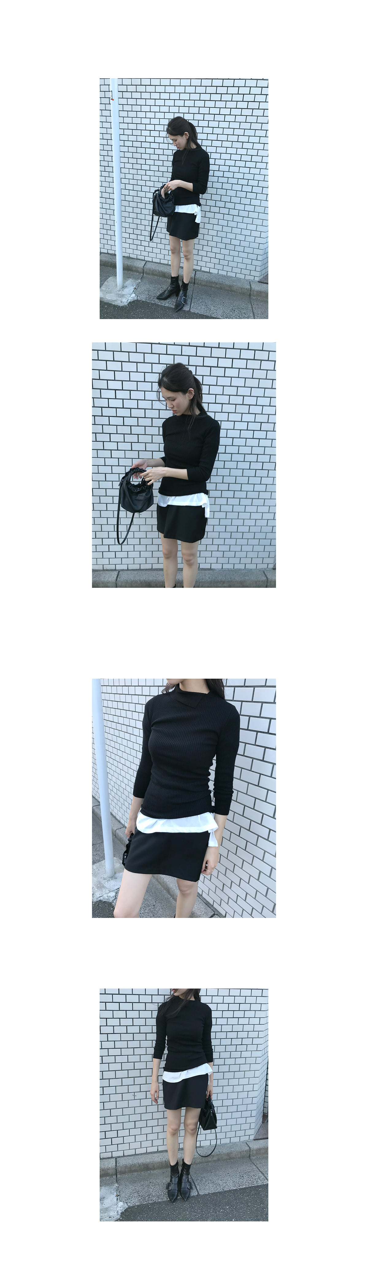 unbalance knit vest (2colors)