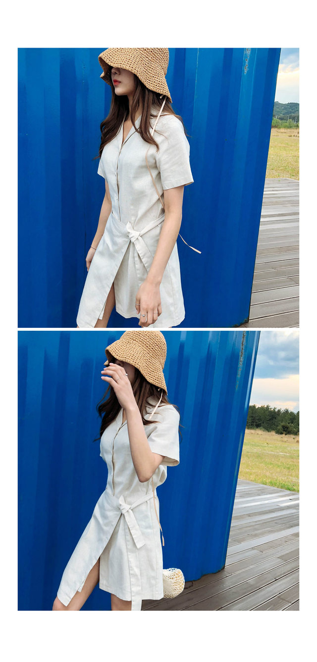 Linen Aimura Wrap One piece ㅣ 3COLOR Yellow Black A line