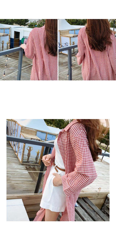 Heracheck Robes | 3COLOR Red Beige Black Cloth Dropoff Shoulder Crop Blank