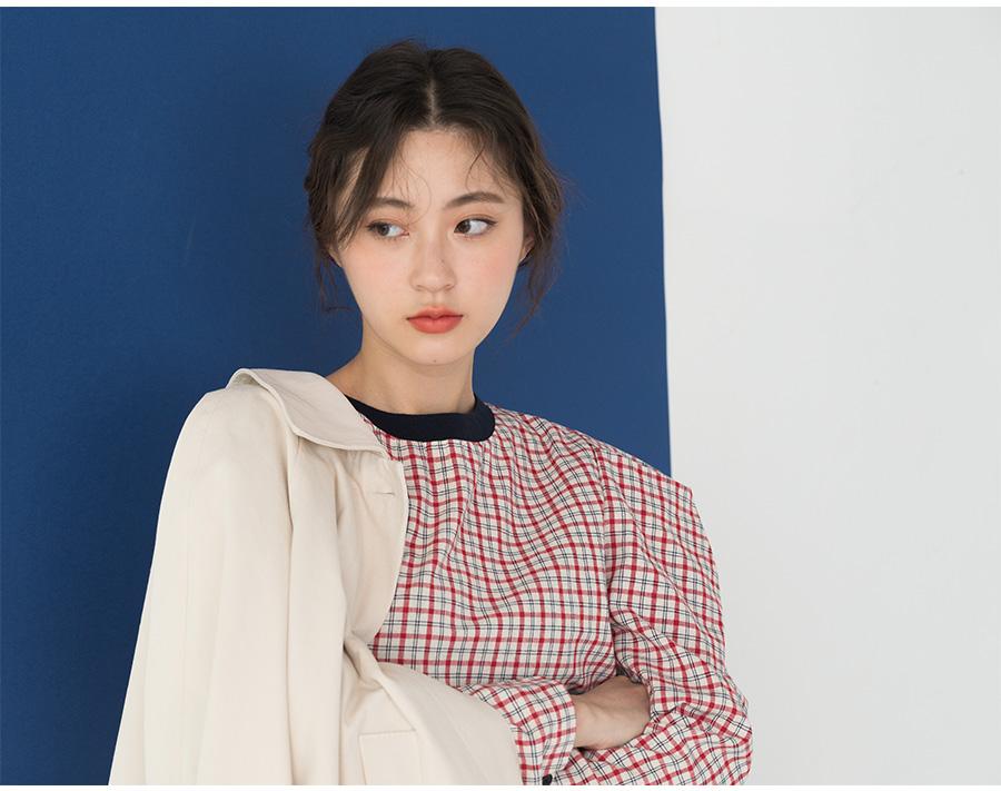 volume sleeve check blouse