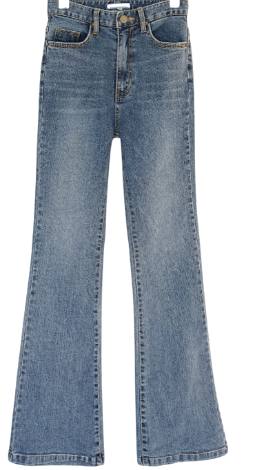 high-waist flared washing jean