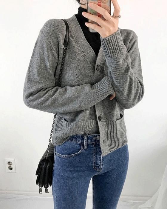 V neck pockets knit cardigan 2color