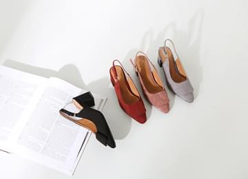 Square Ornament Suede Slingback Middle Heel