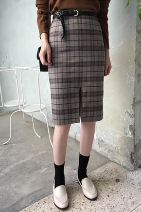 Monde Check Midi Skirt