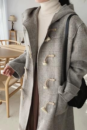 School check hooded duffel coat