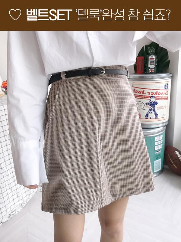 Apple check belt skirt