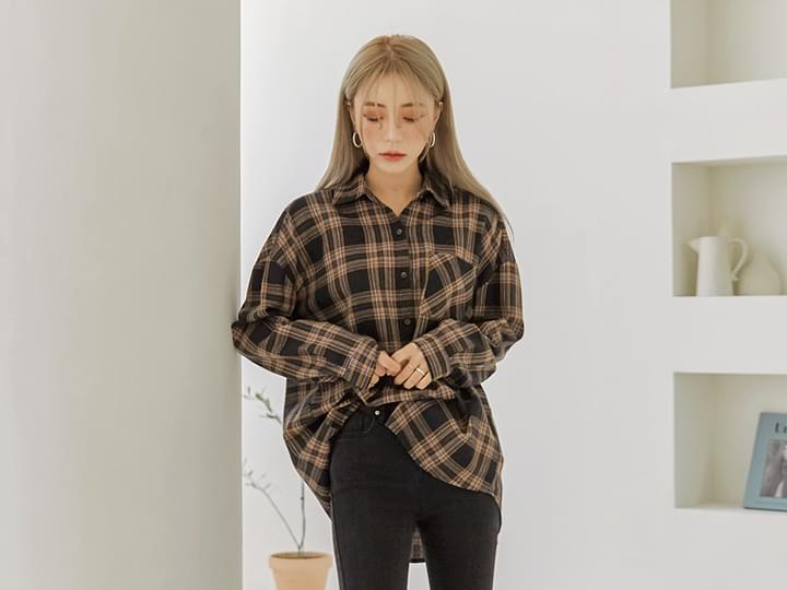 DEEP COLOR CHECK BOXY SHIRTS