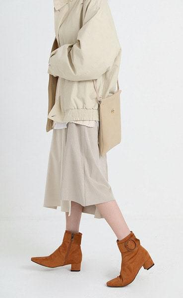 color combi unbal suede skirt (2colors)