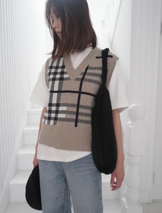 color blocking check vest (2colors)