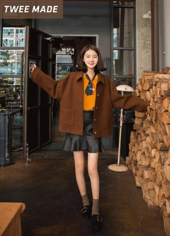 Pocket mini wool coat