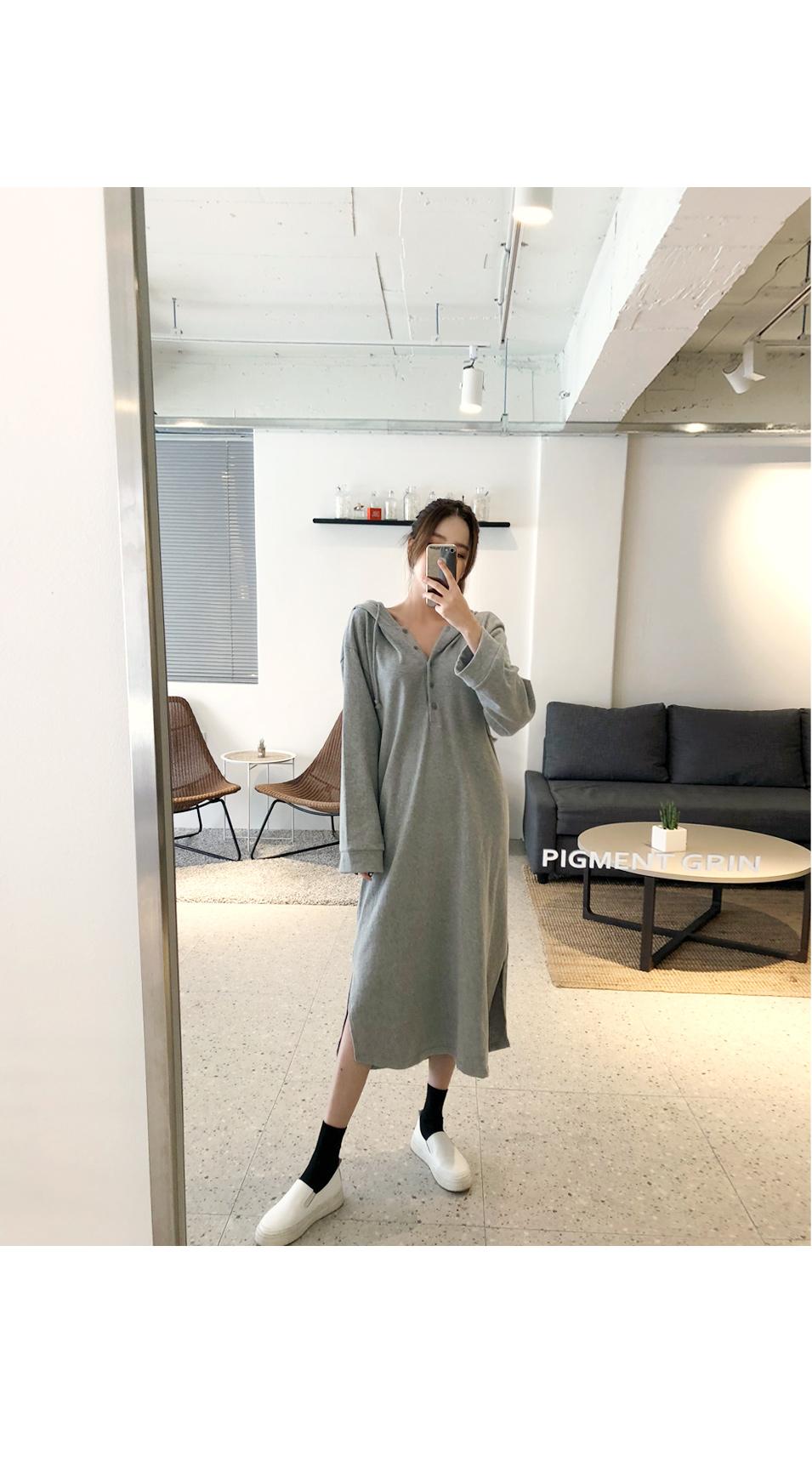 Hooded Long Button Dress