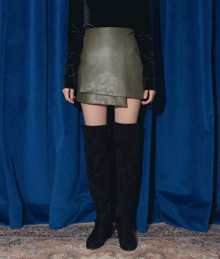 Rail leather skirt