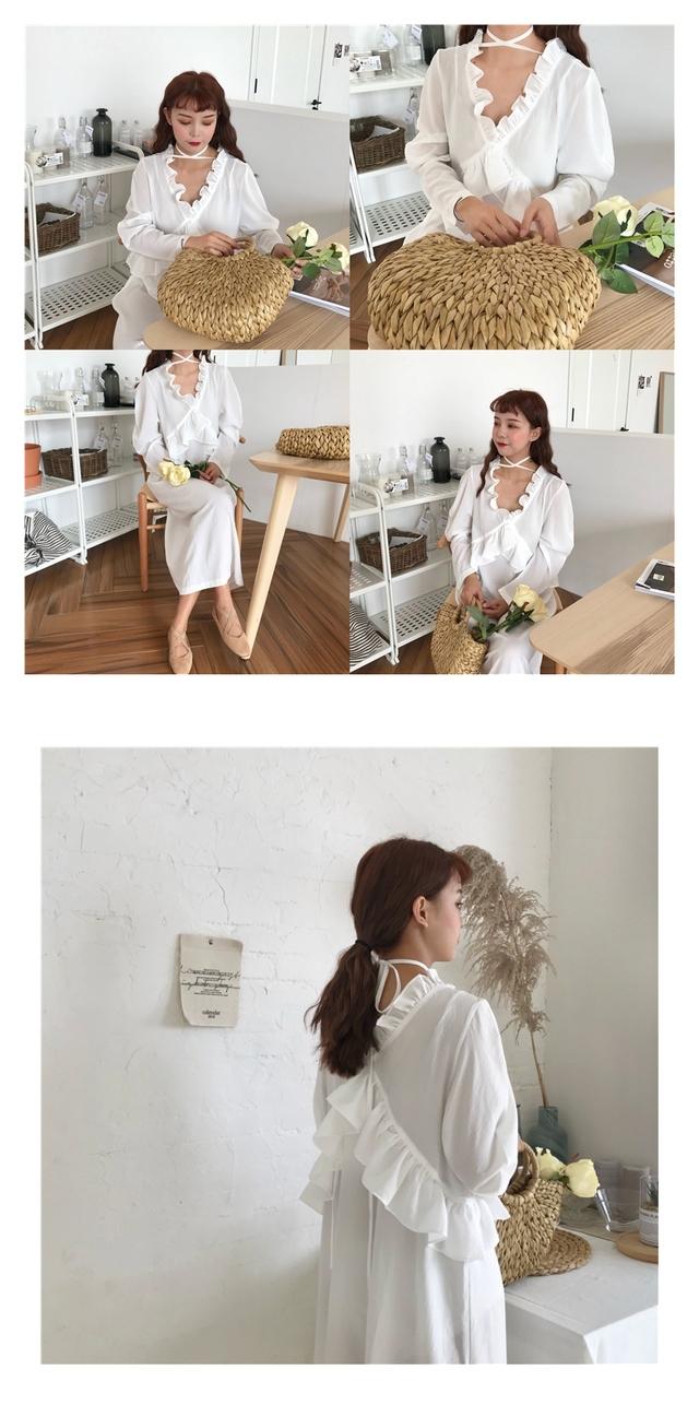 X-Frill Ribbon Long Dress