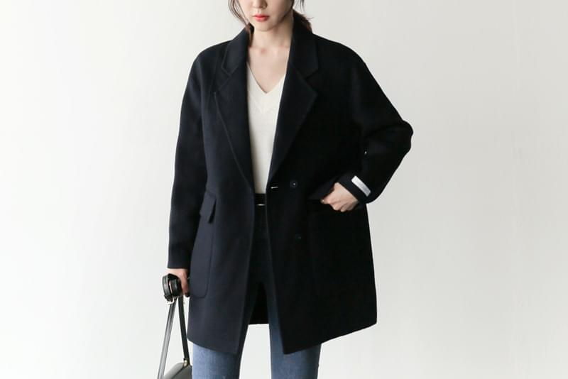 Simple coat wool navy ships same day ♡