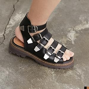 Heavy buckle belted sandle