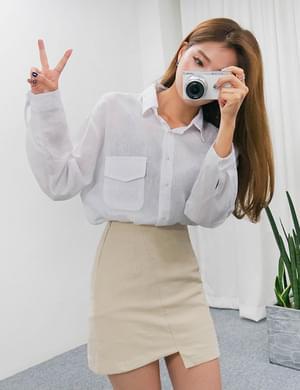Colored pocket linen shirt