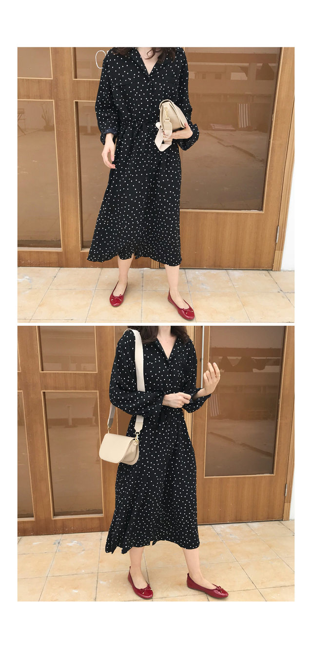 Three-dot long dress