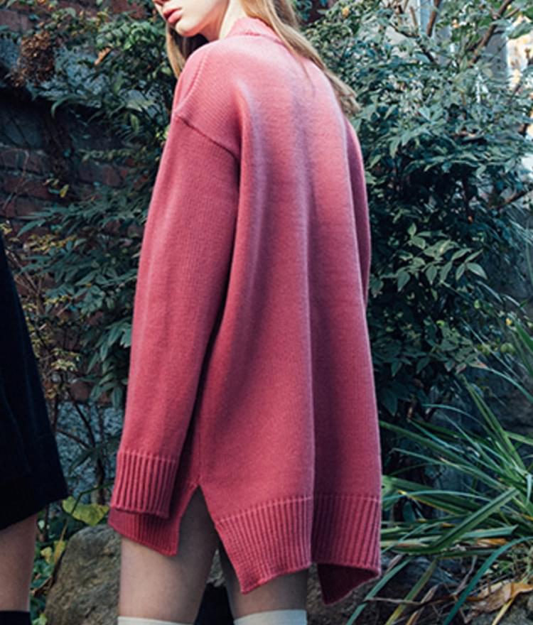 Heart Knit Dress (Dark pink)
