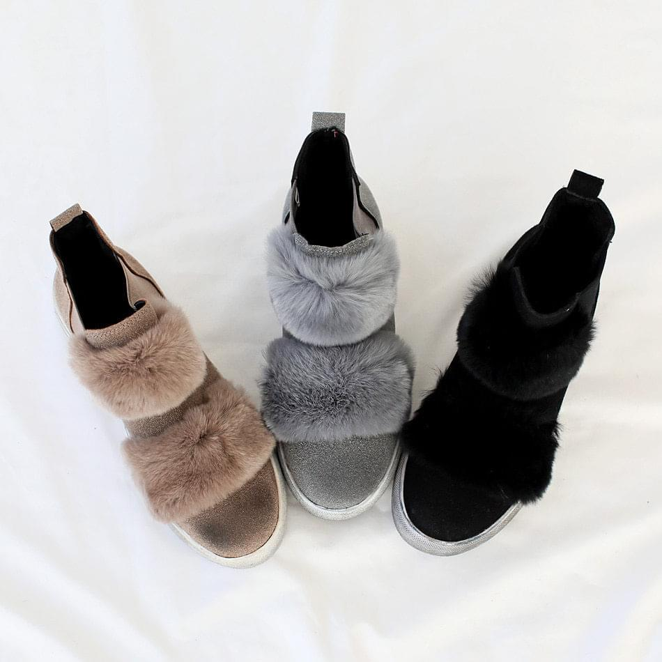Rope A Real Fur High Top Slip On 3cm