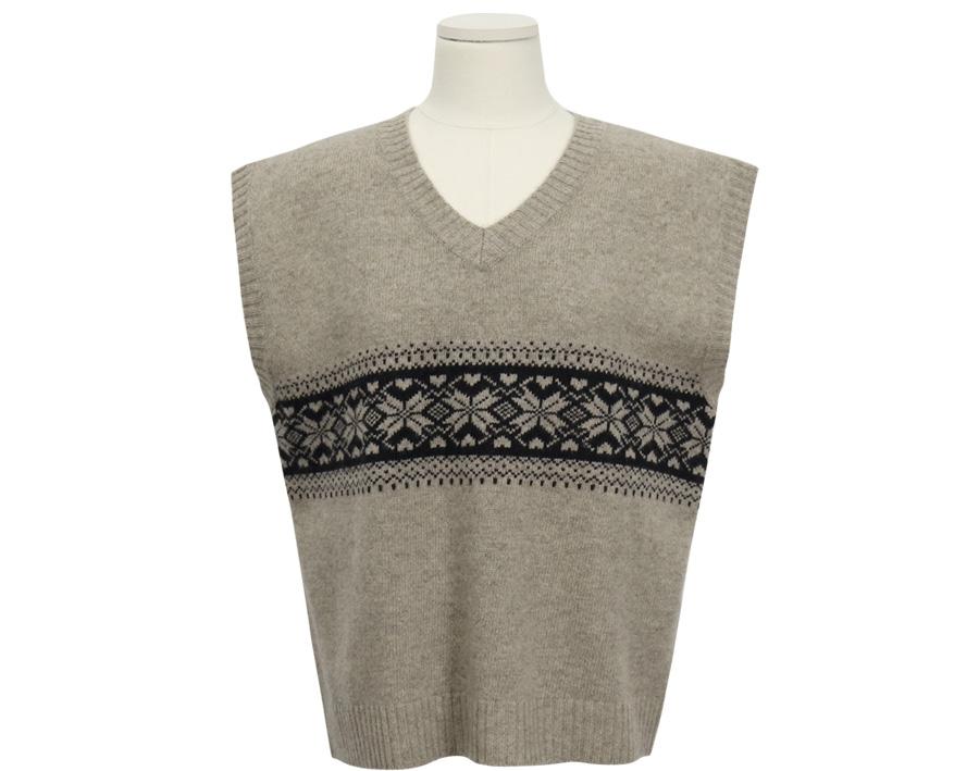 Nordic pattern wool vest_B (울 80%) (size : free)