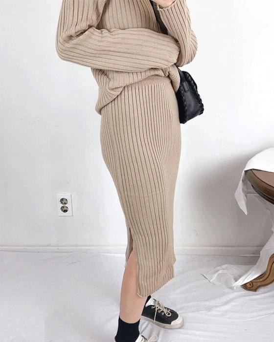 Basic Sheepskin Polar Knit Skirt Two Piece 2color