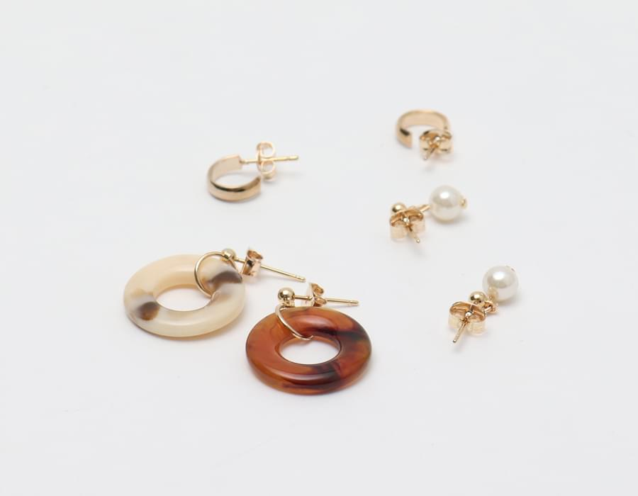 Leopard mix earring set_H (size : one)