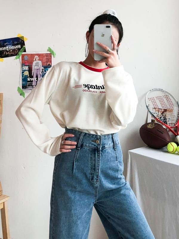 Vintage Collar Round Neck T-Shirt