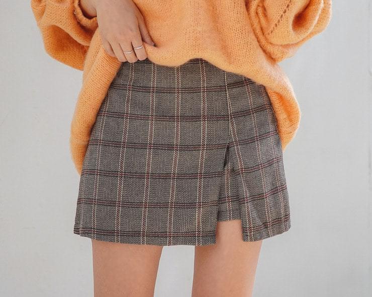 Herringbone Skirt Pants