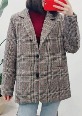 Two button loose check jacket