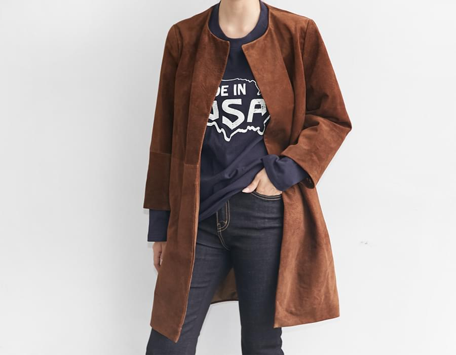Real suede round coat_EJ