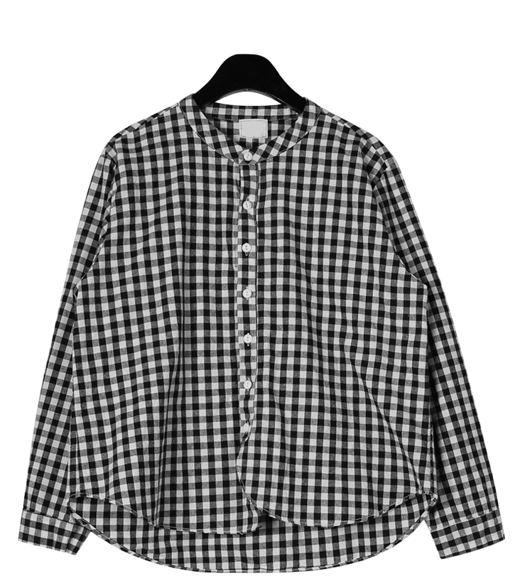 Non collar check shirt