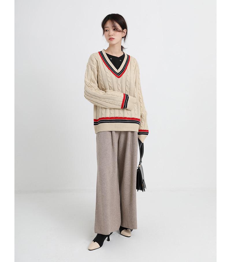 ford v-neck loose knit (2colors)