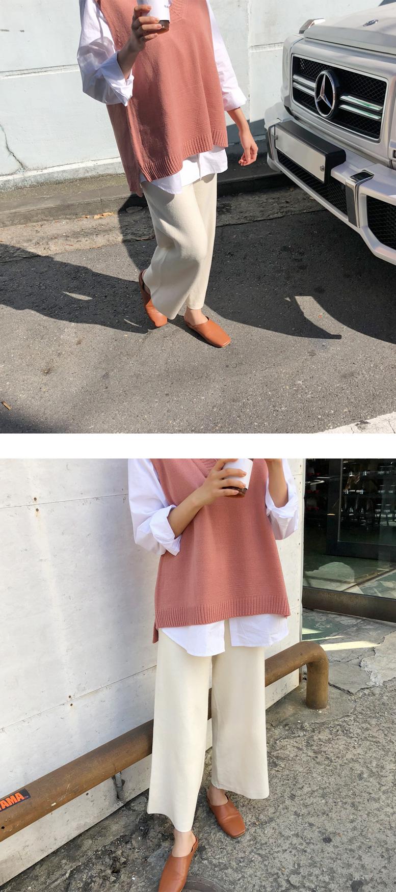 Plain knit crop pants_J (울 50%) (size : free)