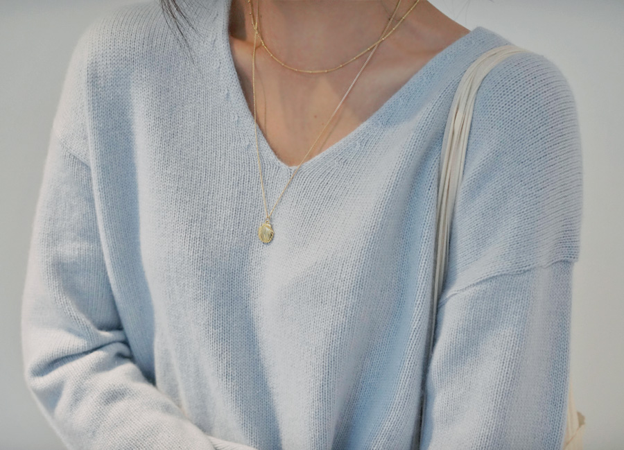Clam pendant necklace_K (size : one)