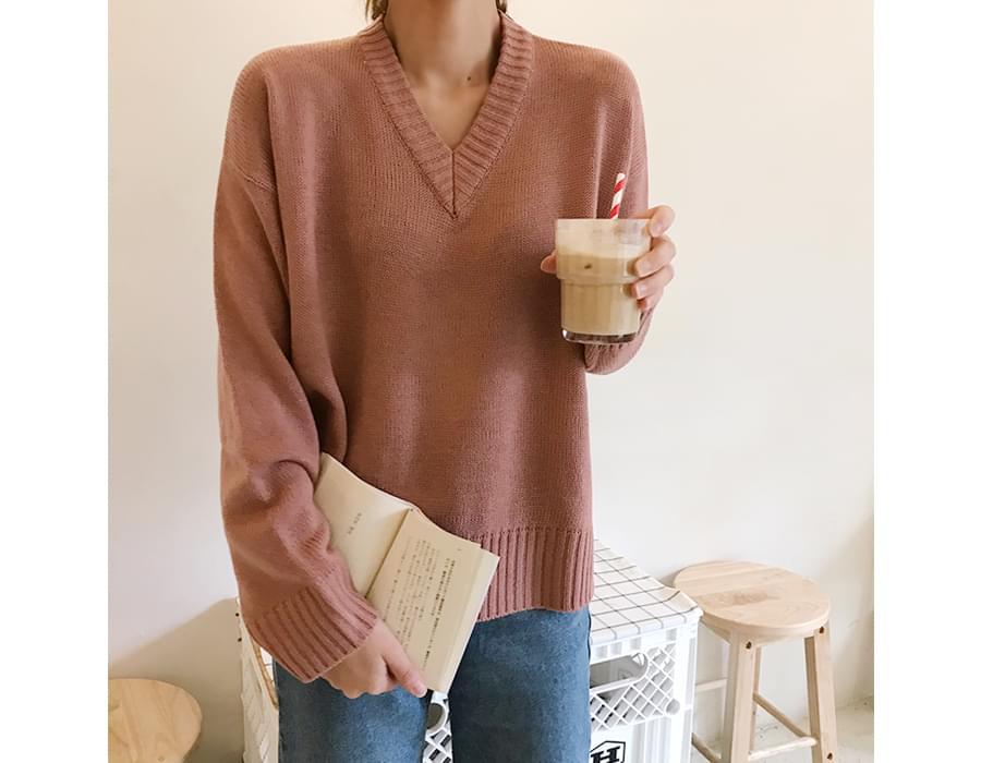 Jully basic v-neck knit_B (size : free)