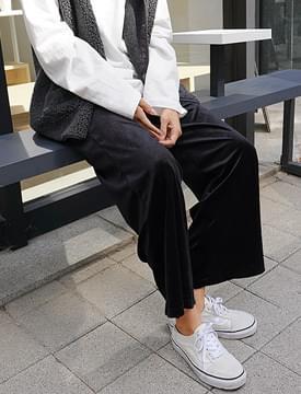 Velour banding wide pants_M (size : free)