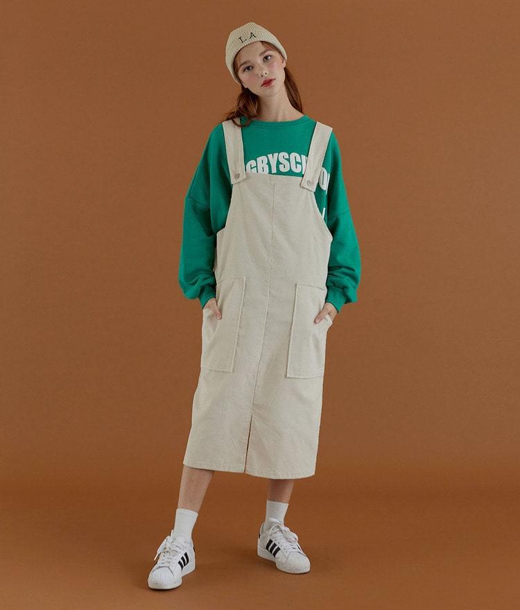 Corduroy Pocket Suspender Dress