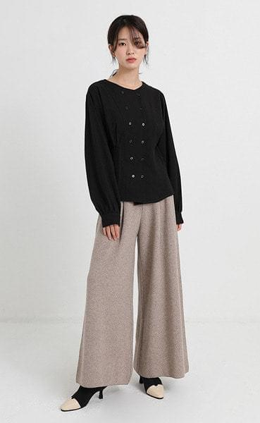 pintuck wide knit pants (3colors)
