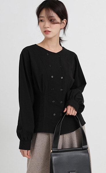 double pintuck round blouse (2colors)