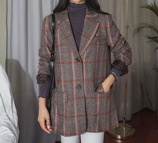 Wool check herringbone jacket