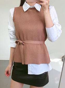 Shirt knit vest set
