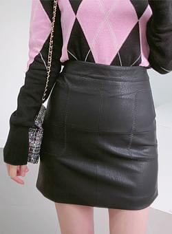 Stitch leather skirt