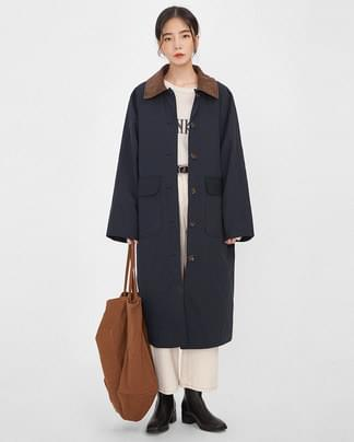 collar point long coat